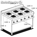 Electric cooker - mod. pcq/712et - n. 6 square plates - open cupboard -
