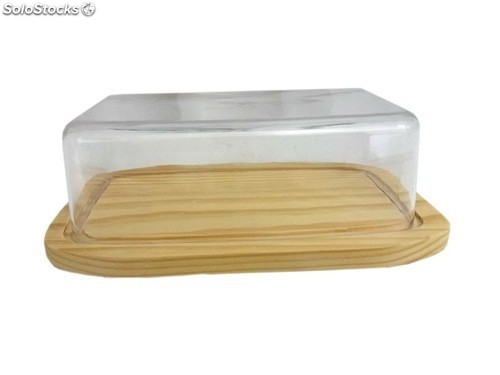 EM Home - Quesera de madera rectangular 6 x 20 x 12 cm