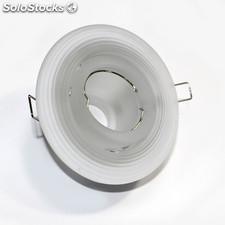Empotrable de cristal circular con aplique orientable color blanco mate.