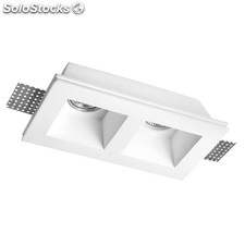 Empotrable yeso rectangular 2 GU10 front Sulion