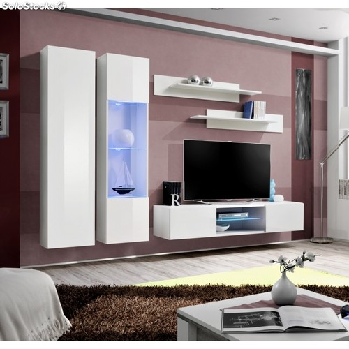 Ensemble Meuble Tv Mural Fly O5 260 X 40 X 190 Cm Blanc