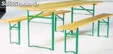 "Ensemble Table et banc en bois ""PRAGUES"""