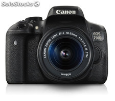 Eos 750D ef-S18-55mm is stm 24 2MP cmos 6000 x 4000Pixeles Negro