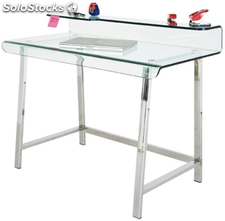 Escritorio DECOR_ASTER-TR, de cristal, base en acero inoxidable (115 x 56 cms)