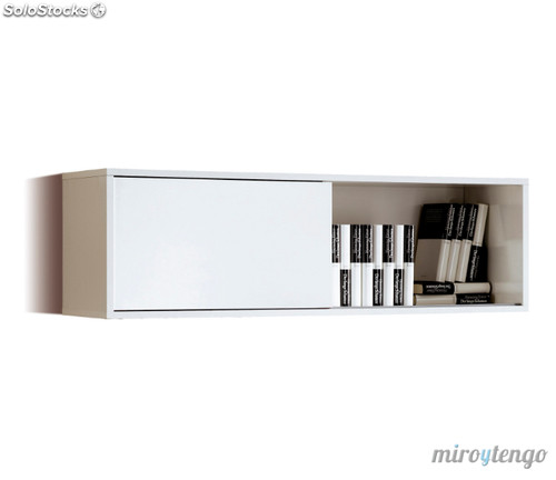 Estanter a librer a de puerta corredera color blanco for Modulos salon blanco