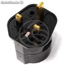 EU to UK Adapter plug with 2 pin female round plug to BS1363 male plug black