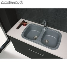 Evier Synthetique Double Gris Aluminium