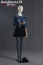 Faceless female mannequin with articulated arms and hands