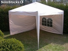 Falt pavillon carpa gazebo 3x3m color beige con dos laterales plegable