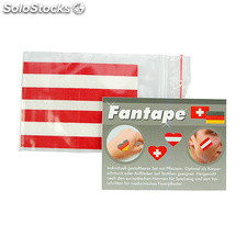 Fantape Set Of 4 Rectangle , Red/White/Red
