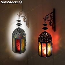 Farol Vela Octogonal Decorada - Calado Arabe - Multicolor