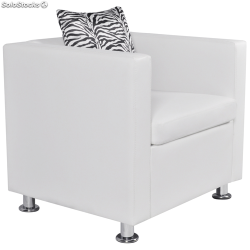 fauteuil cube en cuir artificiel blanc. Black Bedroom Furniture Sets. Home Design Ideas