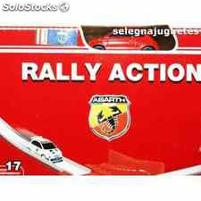 Fiat abarth rally action, coche mas circuito escala 1/64 motorama