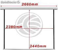 Fiberglass white wall electric projection screen DisplayMatic PRO 1:1 2380 x