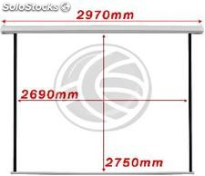 Fiberglass white wall electric projection screen DisplayMatic PRO 1:1 2690 x