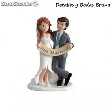 Figura de Tarta Novios Just Married. Figura pastel para boda