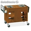 Flambe trolley - mod. 6402 - solid wood structure - n. 2 separate stainless