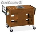 Flambe trolley - mod. 6404 - solid wood structure - single stainless steel gas