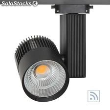 Foco carril cronolux rail led negro 30W, rf, Regulable, Blanco cálido, Regulable