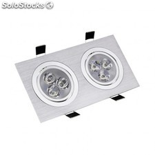 Foco downlight led direccionable rectangular 2x3x1w