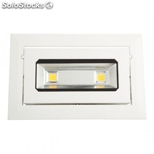 Foco downlight led rectangular basculante cob 20w 1800lm blanco cálido