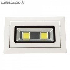 Foco downlight led rectangular basculante cob 40w 3600lm blanco cálido