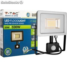 Foco Led 20w Blanco Sensor Movimiento Blanco Natural