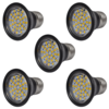 Focos LED, set de 5 bombillas, color negro 3W E27 blanco cálido