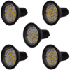 Focos LED, set de 5 bombillas, color negro GU10 3W blanco cálido