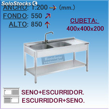 Fregadero Industrial en Acero Inoxidable 1200x550x850 mm.