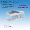 Fregadero Industrial en Acero Inoxidable 700x600x850 mm.