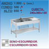 Fregadero Semi-industrial en Acero Inoxidable 1000x500x850 mm.