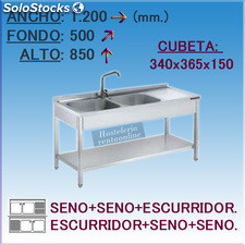 Fregadero Semi-industrial en Acero Inoxidable 1200x500x850 mm.