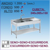Fregadero Semi-industrial en Acero Inoxidable 1350x500x850 mm.