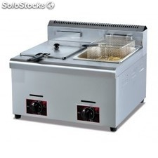 Friteuse 7+7 litres a gaz 2 cuves snack
