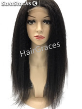 Front Lace wig Kinky-Yaki Human Hair Perruque naturel