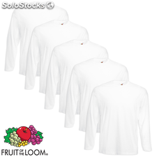 Fruit of the Loom Camiseta manga larga algodón blanca XL 5 uds