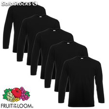 Fruit of the Loom Camiseta manga larga algodón negra XL 5 uds