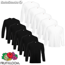 Fruit of the Loom Camiseta manga larga blanca/negra XXL 10 uds