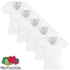 Fruit of the Loom Camiseta mujer cuello en pico blanca XL 5 uds