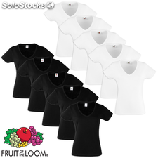 Fruit of the Loom Camiseta mujer cuello pico blanca/negra S 10 uds