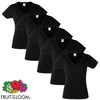 Fruit of the Loom Camiseta mujer cuello pico Value Weight negra S 5ud