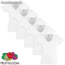Fruit of the Loom Camiseta mujer cuello pico ValueWeight blanca S 5uds