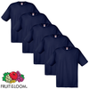 Fruit of the Loom Camiseta original 100% algodón azul 5 uds