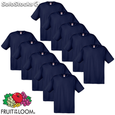 Fruit of the Loom Camiseta Original 100% algodón azul marino 10 uds