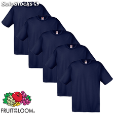 Fruit of the Loom Camiseta Original 100% algodón azul marino 5 uds