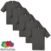 Fruit of the Loom Camiseta original 100% algodón grafito 5 uds