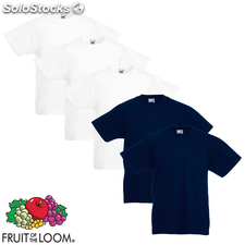 Fruit of the Loom Camiseta para niños 5 uds blanca/azul marino T 164
