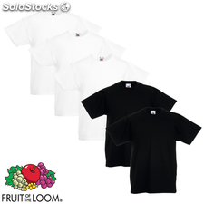 Fruit of the Loom Camiseta para niños 5 uds blanco/negro talla 152