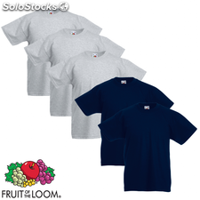 Fruit of the Loom Camiseta para niños 5 unidades gris/marino talla 128